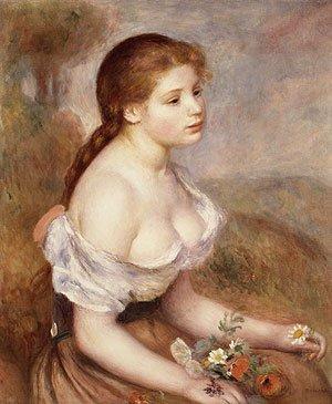 La Jeune Fille Avec les Pâquerettes (1889) by Pierre-Auguste Renoir