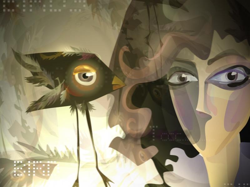 fond-ecran-femme-et-oiseau