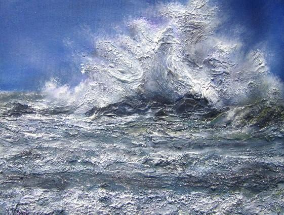 Tableau de tempete vague mer acrylique arbrealettres for Tableau sur la mer