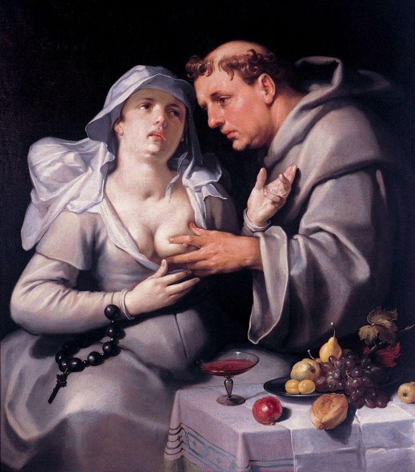 Cornelis van Haarlem Une-beguine-et-un-moine-1591-Cornelis-van-Haarlem-900x1024