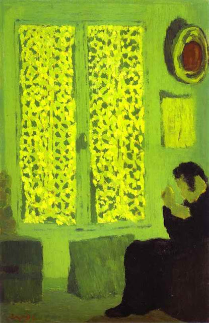 Edouard Vuillard 1891 The Green Interior or Figure in front of a Window with Drawn Curtains oil on cardboard
