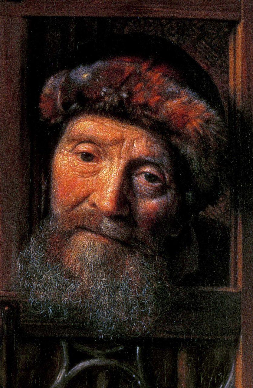 Samuel Van Hoogstraten_ l'homme à sa fenêtre_détail