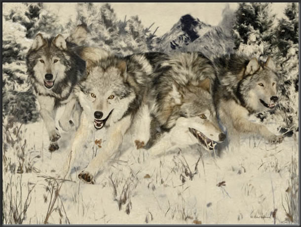 wolves painting full