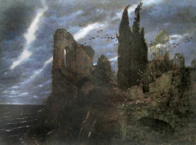 Arnold Böcklin ruines au bord de la mer