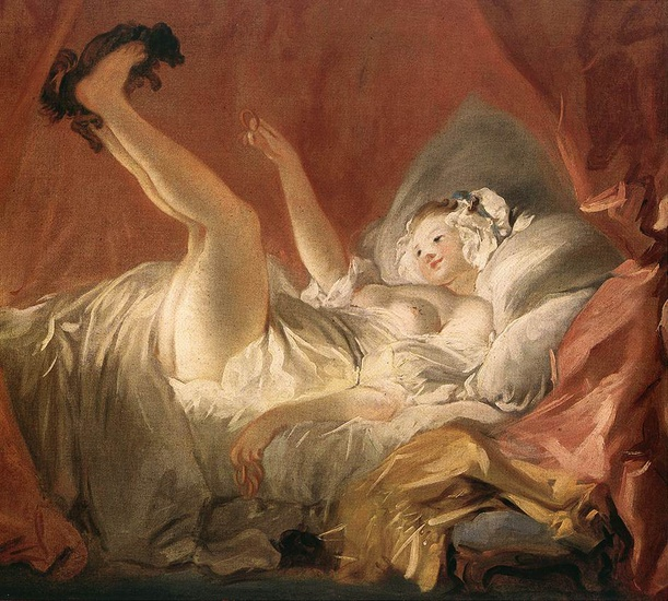 Jean-Honoré Fragonard - Young Woman Playing with a Dog