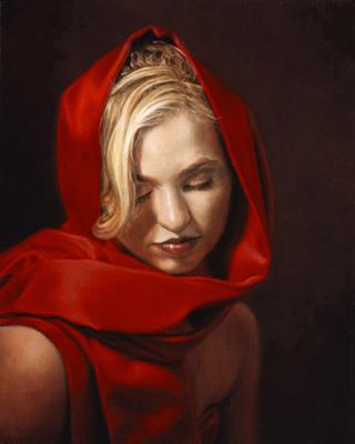 Leslie Adams__femme à l'écharpe rouge