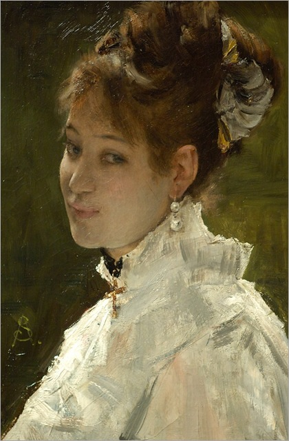Alfred Stevens , Portrait of a young woman