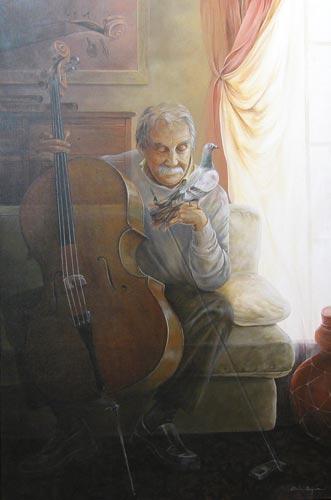 Chelin Sanjuan  Viejo-con-violonchelo-y-teléfono-móvil_31_1