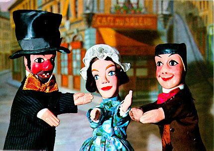 Gnafron, Madelon et Guignol en bas du GourguillonÉ