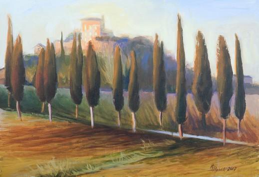 Renata Rychlik  L'allee des cyprès en Toscanie