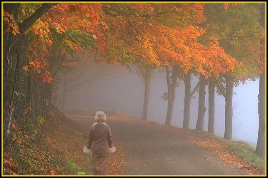 femme dans le brouillard