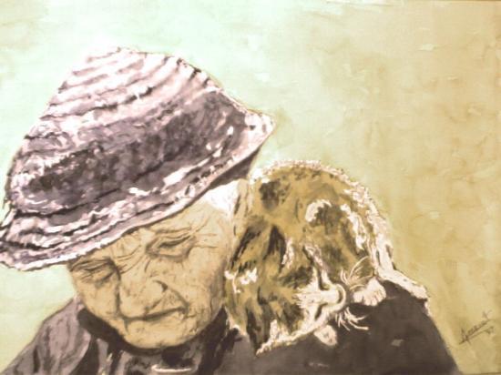 Alain Amevet   la-vieille-dame-au-chat-jpg