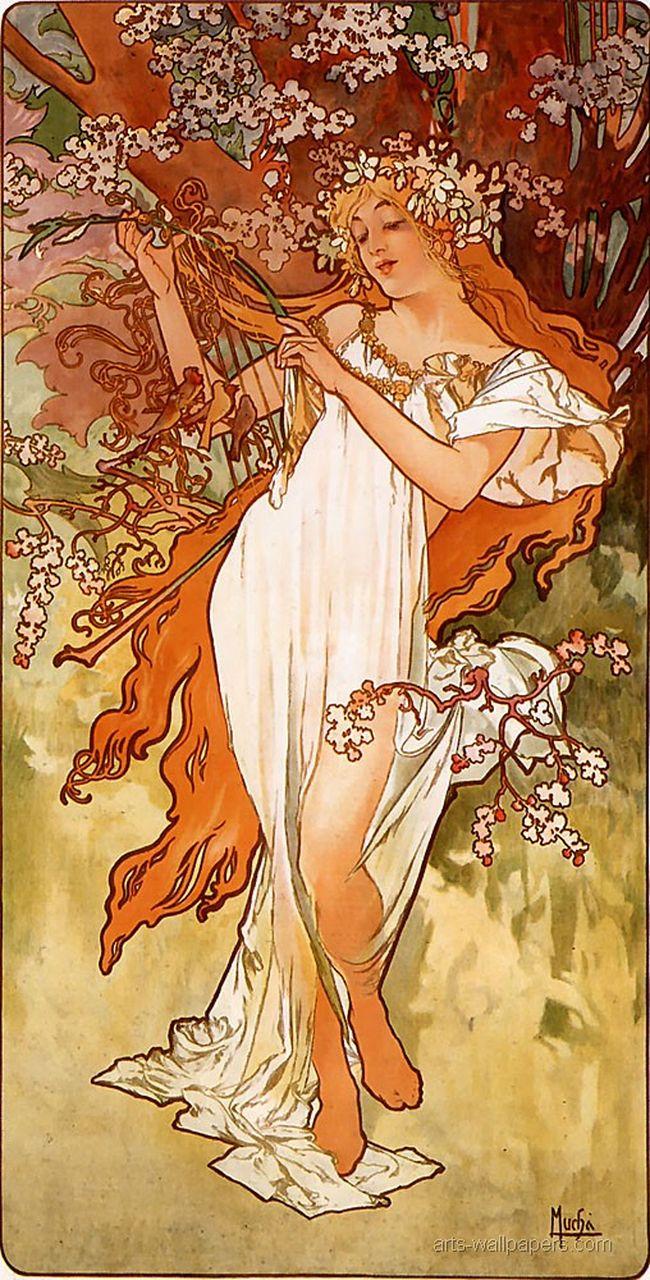 Alphonse Mucha Spring 1896 panel
