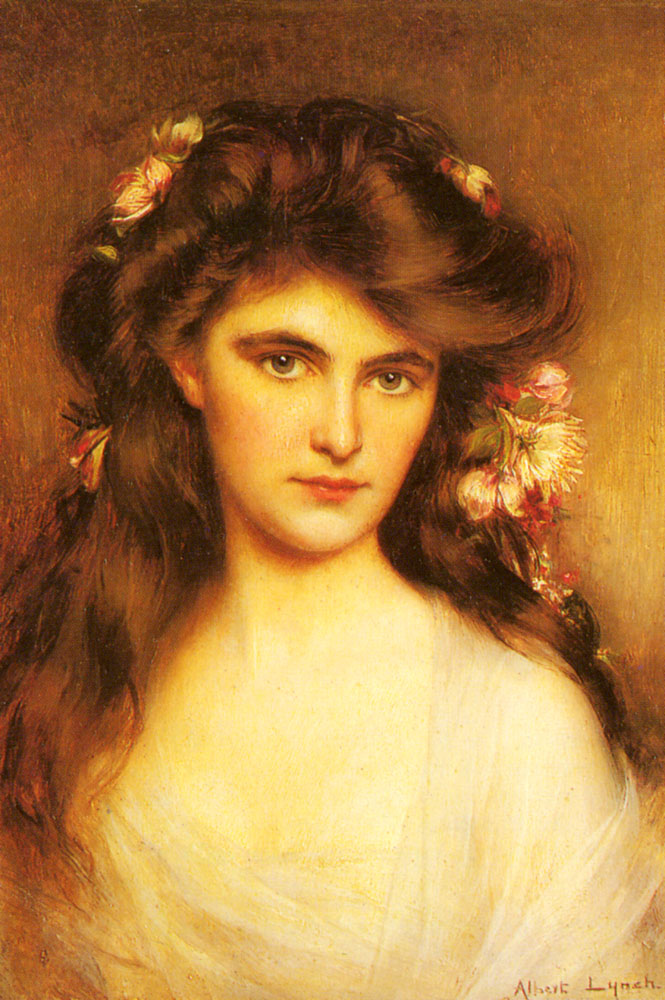 Albert Lynch _A_Young_Beauty_With_Flowers_In_Her_Hair