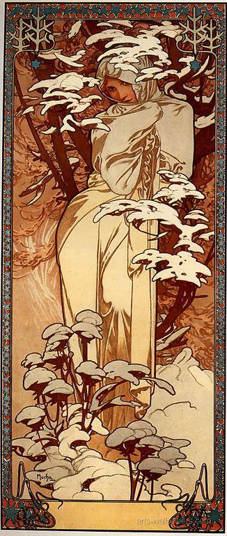 Alphonse Mucha Winter 1897 32x73cm panel [1280x768]