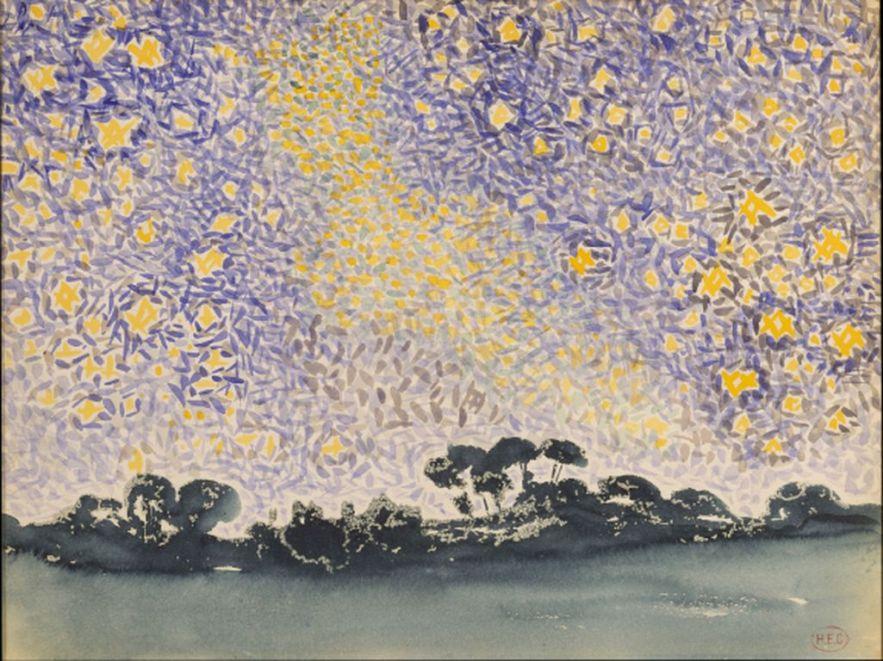Henri Edmond Cross landscape-with-stars-1908 [1280x768]