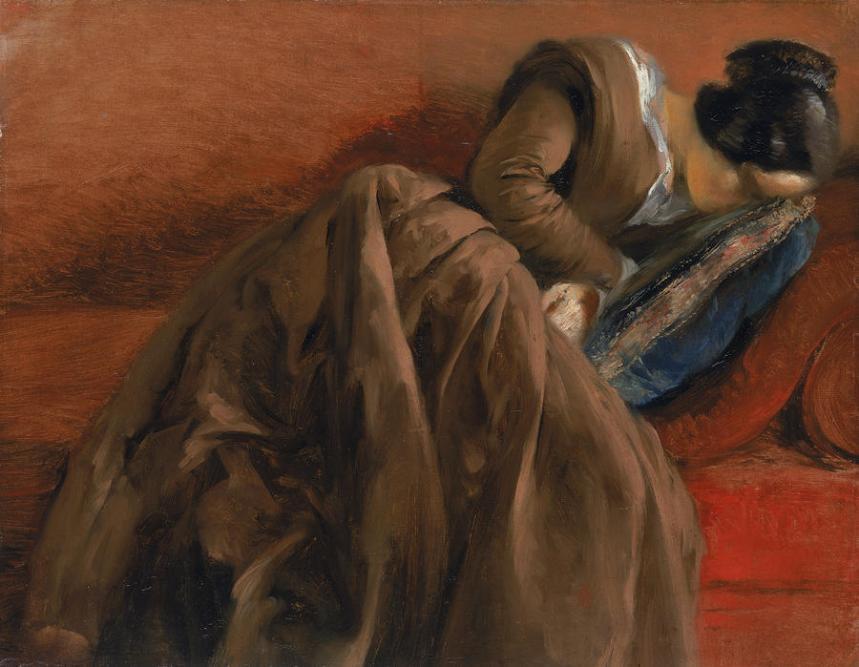Adolph Friedrich Erdmann von Menzel  emilie-the-artists-sister-asleep