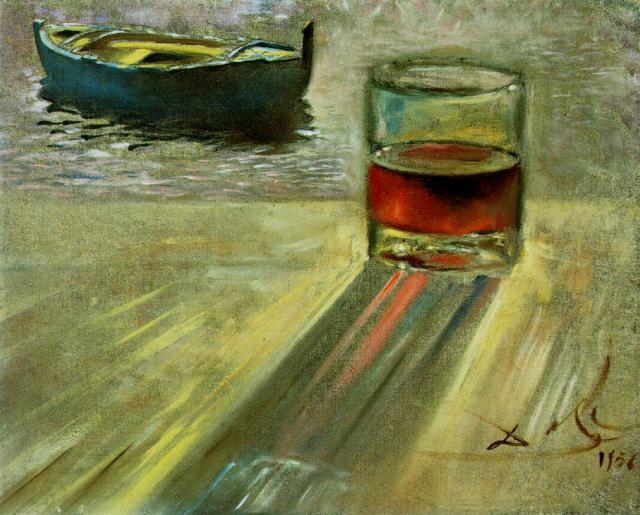 Salvador Dali __ - Verre de vin et bateau 1956