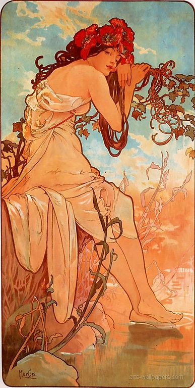 Alphonse Mucha Summer 1896 panel [1280x768]