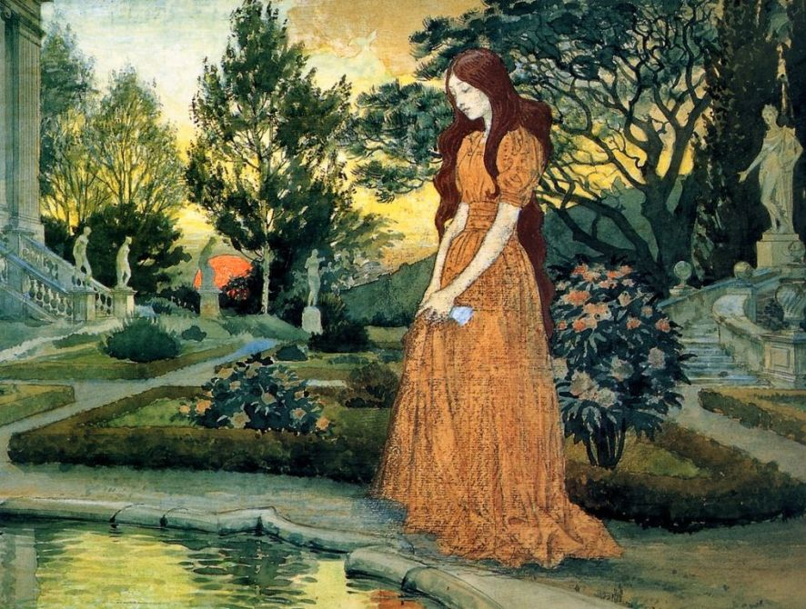 Eugène Grasset  -Girl-in-Garden,- m [1280x768]