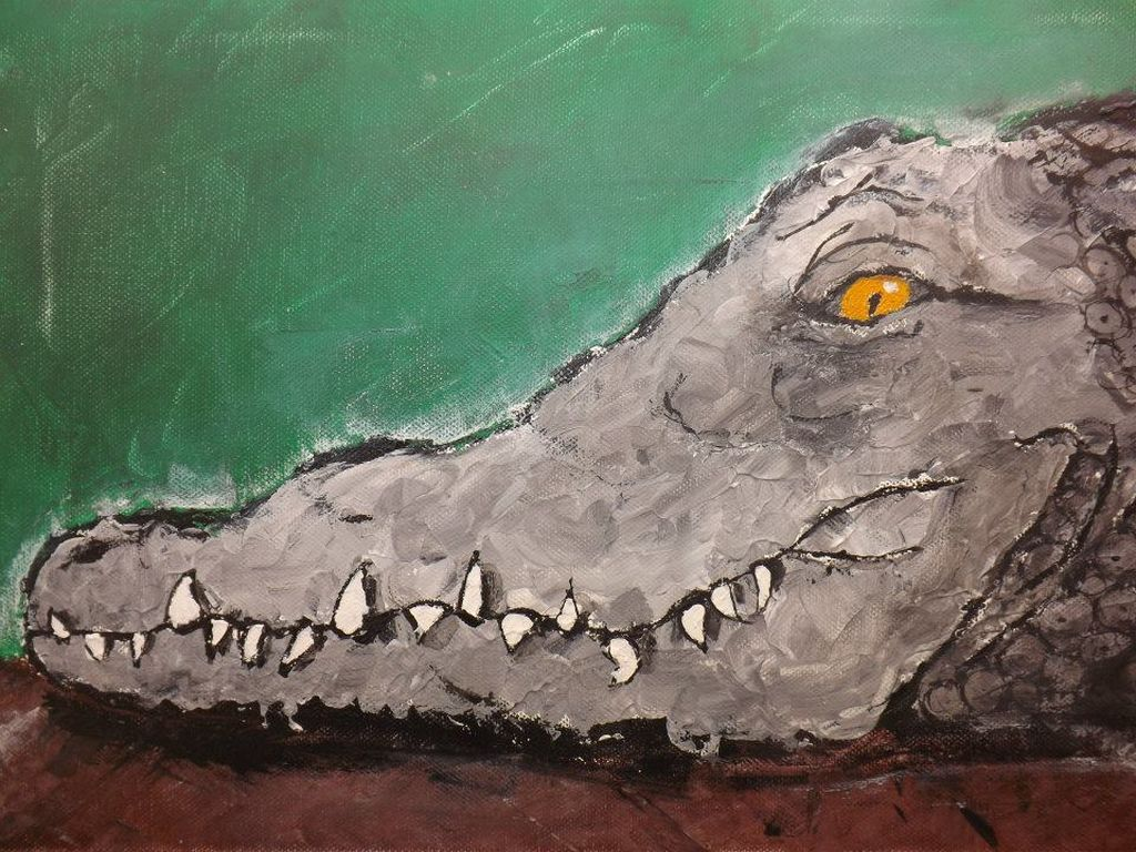 Peinture acrylique tete de crocodile 1280 768 for Peinture crocodile