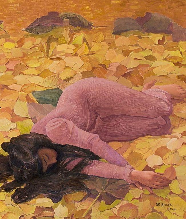 Ernest Biéler , Les Feuilles mortes (detail) 1899 [1280x768]