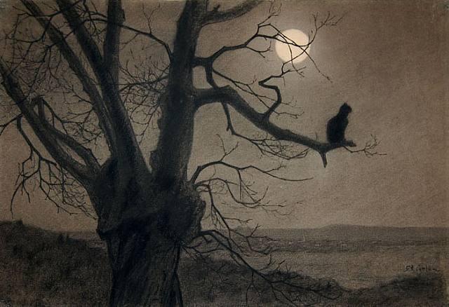 Theophile-Alexandre Steinlen (1859-1923)  -Chat au Clair de Lune