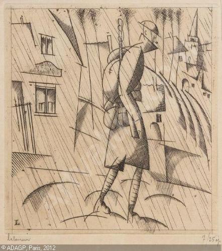 Jean-Emile Laboureur   -1877-1943-le-soldat-sous-la-pluie 551