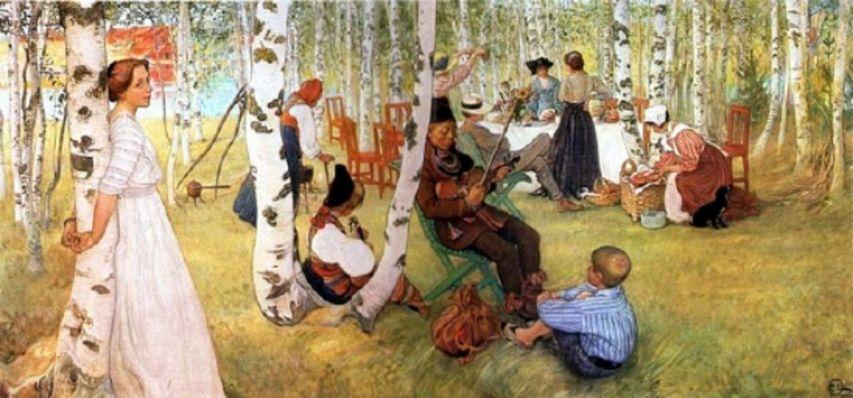 Carl Larsson  -« Petit déjeuner dans le parc » [1280x768]