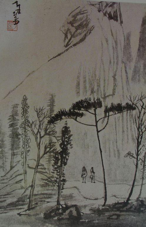 Li K'ou-tch'an  .Pélerins dans un paysage de montagne [1280x768]