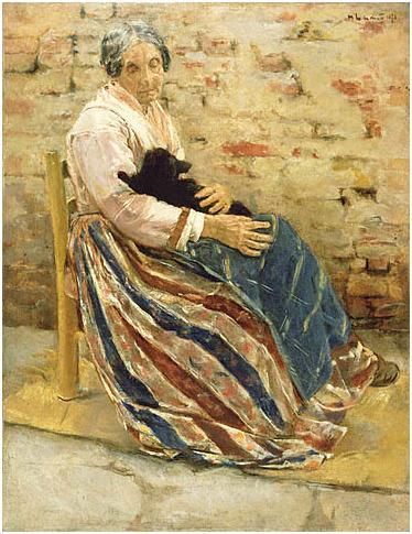Max Liebermann 1878(Vieille-femme-avec-un-chat)JPGettyMuseum