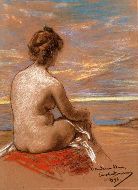 Carolus-Duran une-femme-nue-assise-vue-de-dos-regardant-la-mer