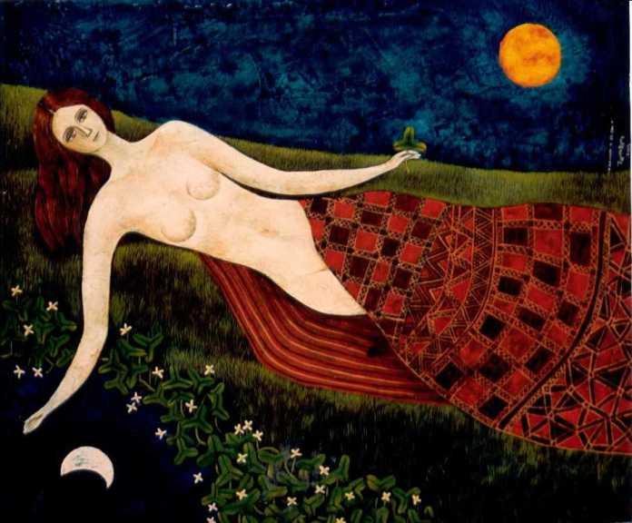 Yoshiro Tachibana Desnuda con la luna y el sol(55x46)