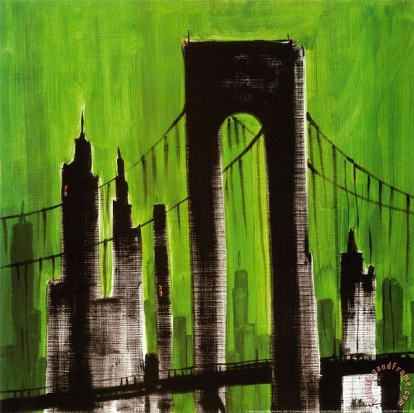 Green Cityscape Painting by Paul Brent; Green Cityscape Art Print for sale