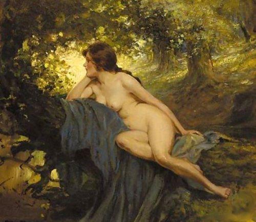 Allan Douglas Davidson a-reclining-female-nude-in-a-sunlit-glade