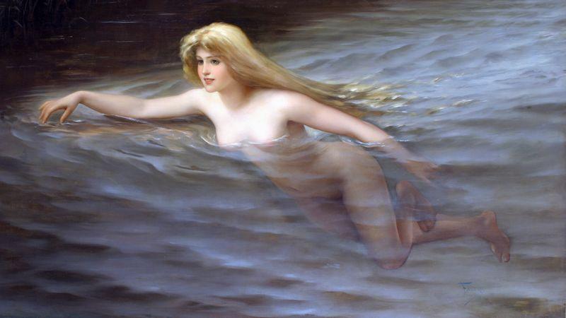 A sea nymph  *oil on canvas  *114 x 195.5cm  *signed b.r.: Falero / 1892