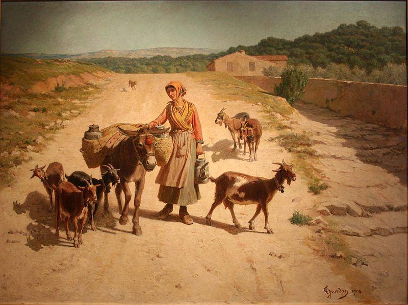 Théodore Jourdan -Chevrière-et-son-âne