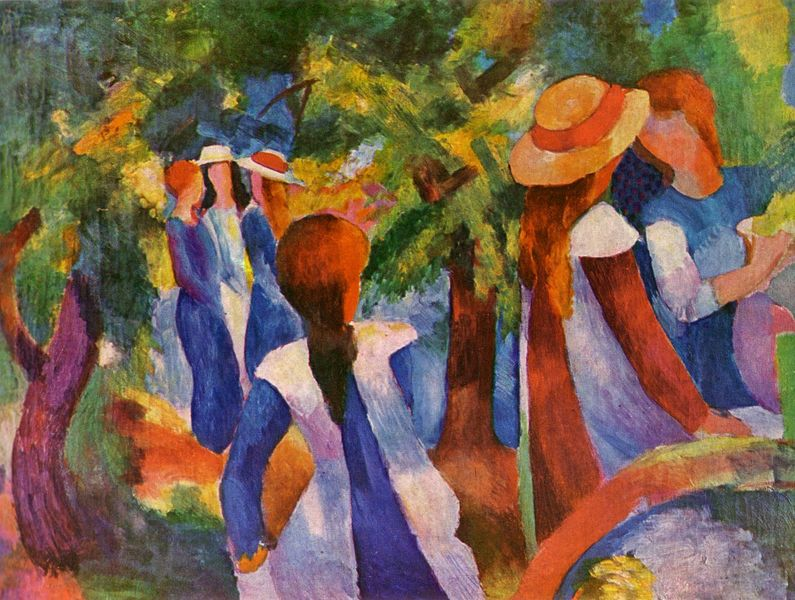 Auguste Macke -Girls-Under-the-Trees [800x600]