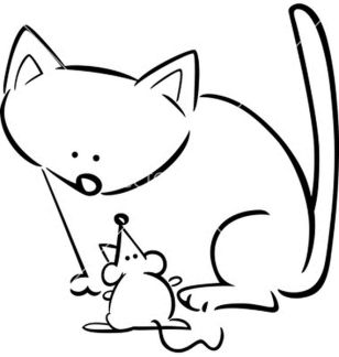 cartoon doodle illustration of kitten and mouse for coloring book