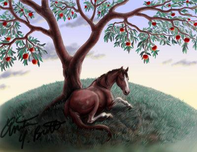 cheval sous un pommier f9