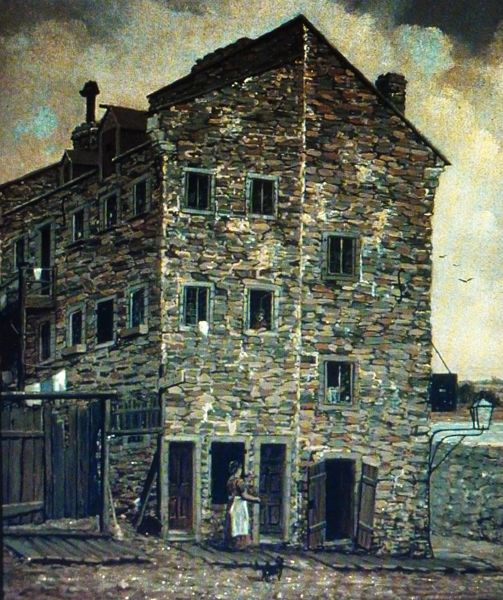 Vieux Montréal 1885. La Friponne, depuis rue Bonneau >Est. Henry R.S.Bunnett. McCord.