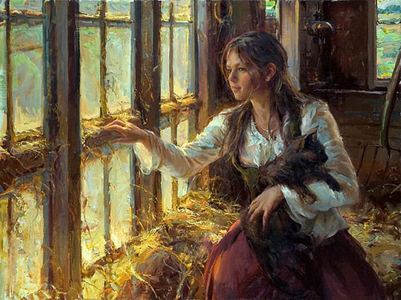 daniel-gerhartz-girl-with-cat-painting-daniel-gerhartz-800x600